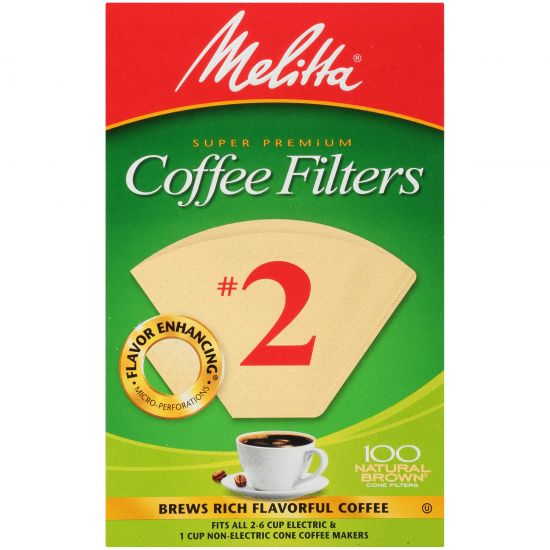 Melitta 2 Natural Brown Coffee Filters Box Of 100