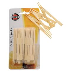 "Norpro 3.5"" Bamboo Party Forks 72Ct #190"