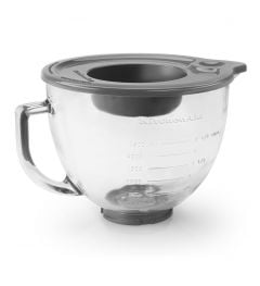 Kitchen Aid 5Qt Glass Bowl with Measurement Marks, Pour Spout, Lid