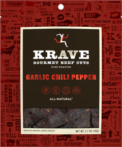 Krave Garlic Chili Pepper Beef Cuts - 2.7 oz Bag