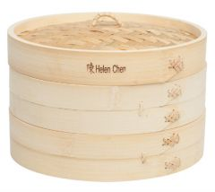 Helen's Asian Kitchen 10-Inch Bamboo Steamer 3-Piece Set