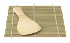 "Helen's Asian Kitchen 7""x 5"" Bamboo Sushi Mat and Rice Paddle"