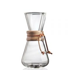 Chemex 3 Cup Classic Glass Coffeemaker with Wood Collar and Tie