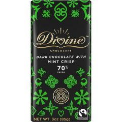 Divine Mint Crisp 70% Dark Chocolate Bar