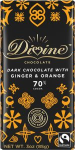 Divine Ginger & Orange 70% Dark Chocolate Bar