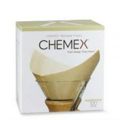 Chemex Bonded Coffee Filters 100 Count Prefolded Unbleached Squares