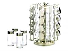 RSVP Stainless Steel Revolving 16 Jar Spice Rack