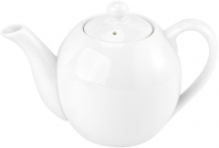 Porcelain 16oz Round White Teapot with Lid